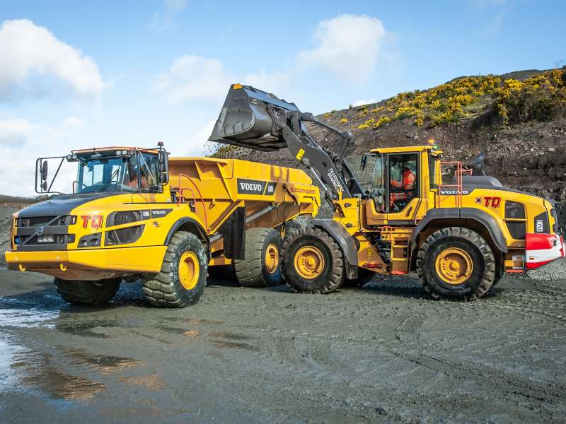 Volvo A30G hauler and L120H wheel loader
