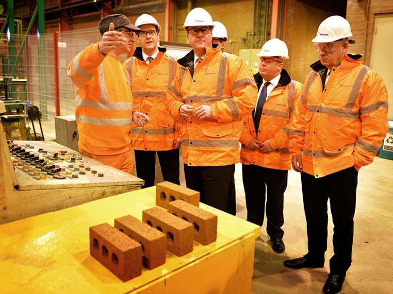 David Cameron and George Osborne at Accrington brick works