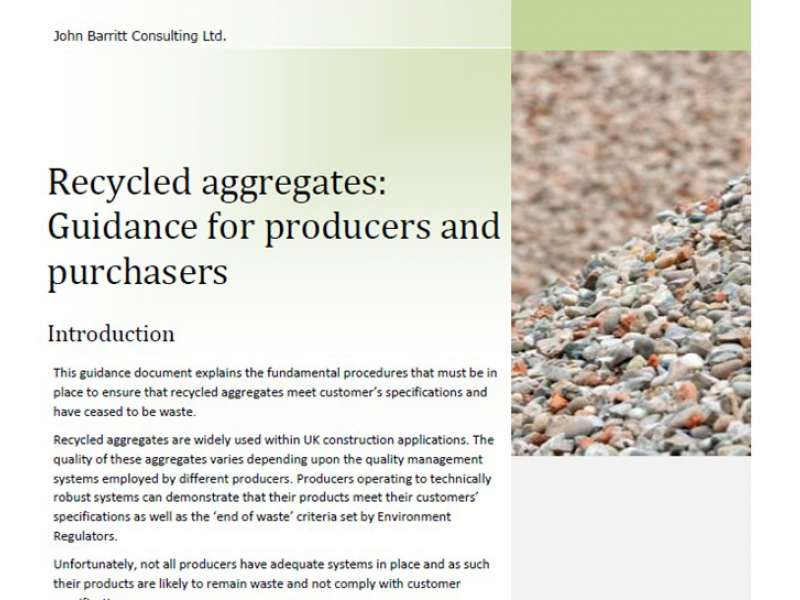 Recycled aggregates guidance