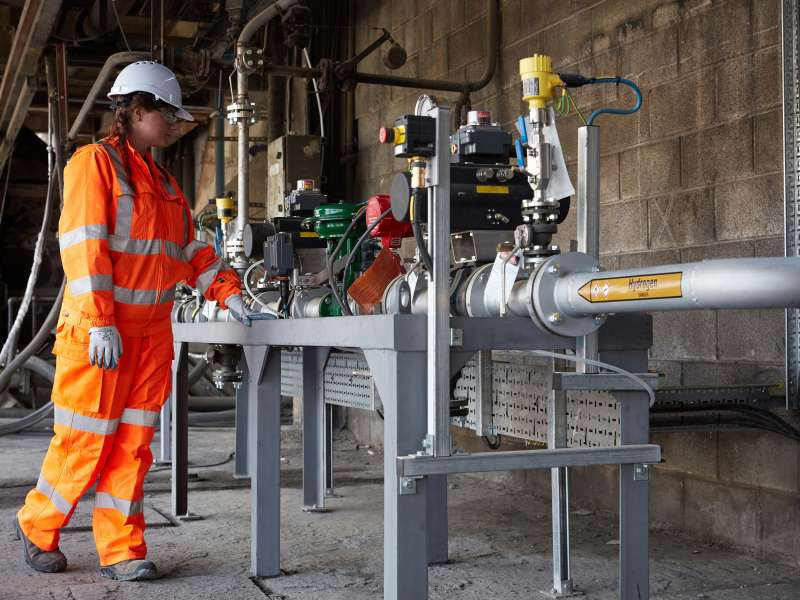 Miriam Joyce, graduate trainee manager, Hanson UK, overseeing world first fuel switching trials at Ribblesdale cement works