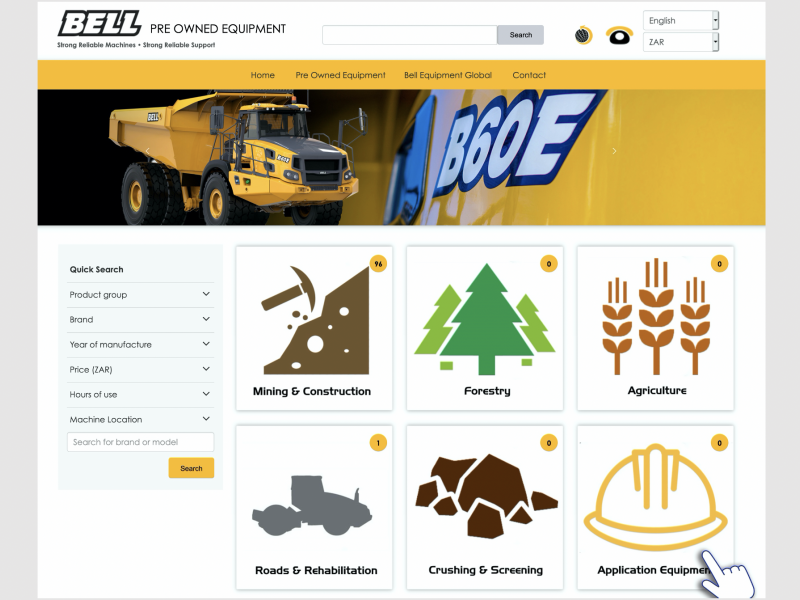 Bell pre-owned equipment website