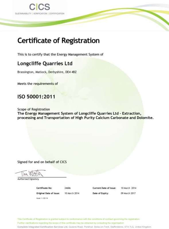 Longcliffe's ISO 50001 certification