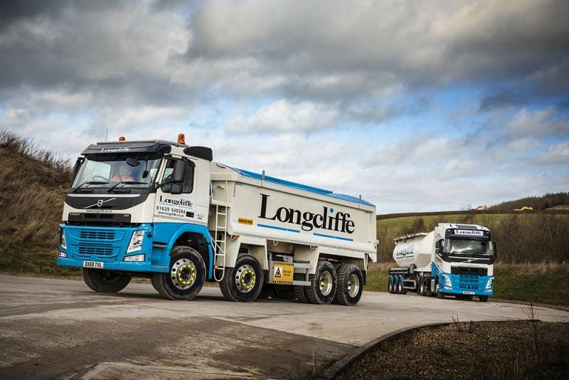 Volvo trucks at Longcliffe Quarries