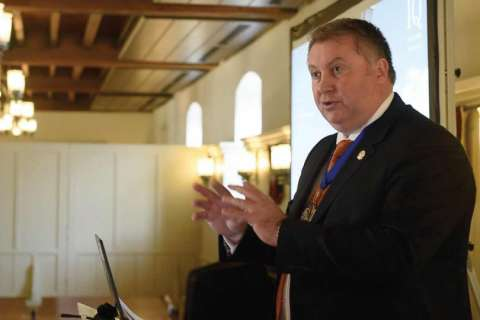 IQ President Phil Redmond speaking at the Tower of London