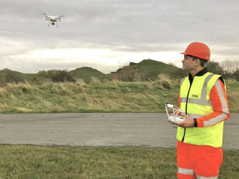 Peter Faraday flying a drone
