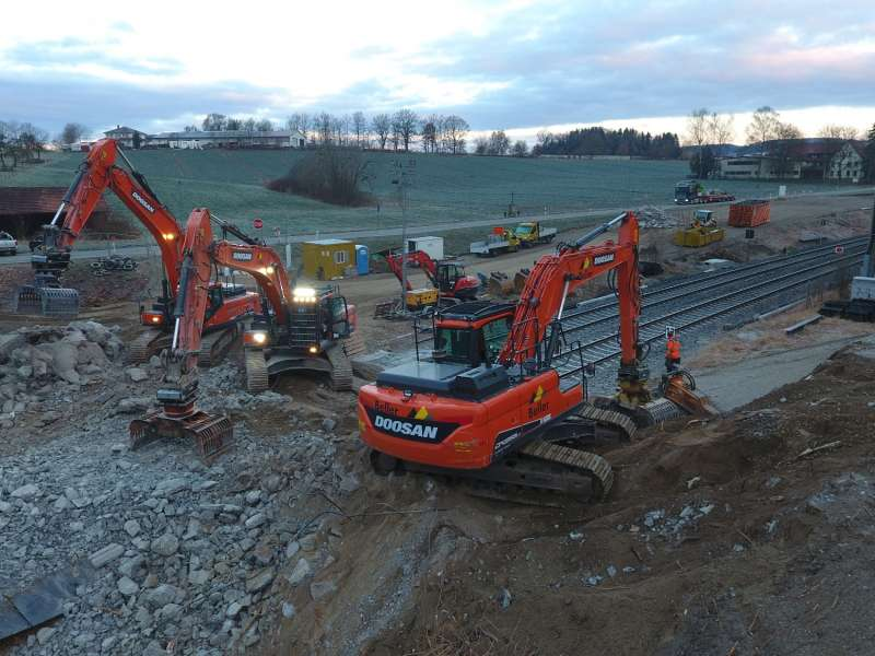 Doosan excavators at work