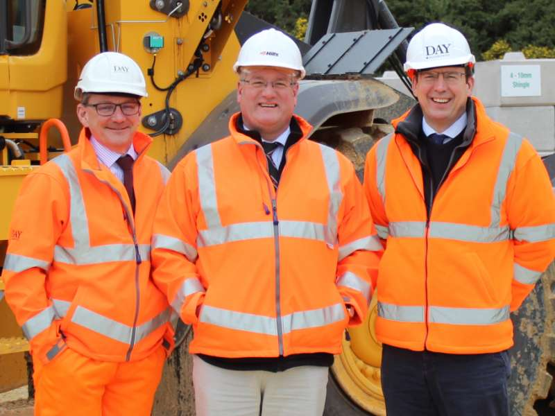 L-R: Michael Woodward, production director at Day Aggregates; Peter Andrew, group director at Hills Quarry Products; and Jonathan Day, merchant sales director at Day Aggregates
